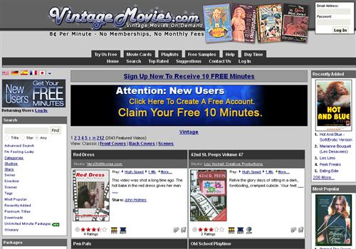 Buy membership to porn site Vintage Movies - Pay Per Minute old VOD paysite