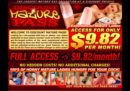 Buy membership to porn site Discount Mature Pass - Pay only $9.82 per month
